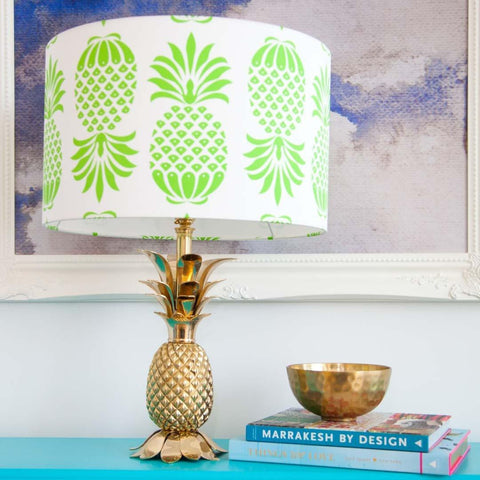 "Large (16"") Pineapple Drum Lampshade in Green by Penelope Hope"