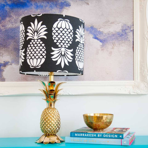 "12"" Pineapple Lampshade in Black & White by Penelope Hope"