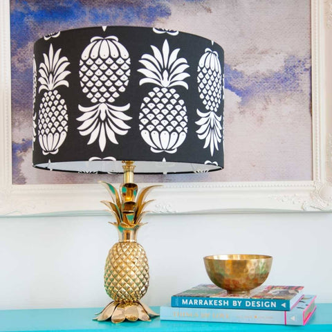 "Large (16"") Pineapple Lampshade in Black & White by Penelope Hope"