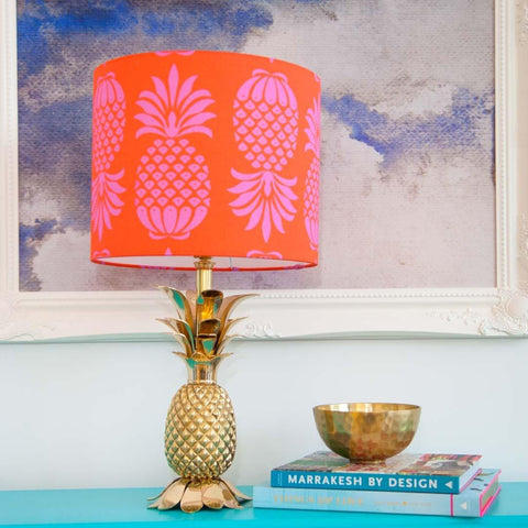 "12"" Pineapple Drum Lampshade in Red and Pink by Penelope Hope"