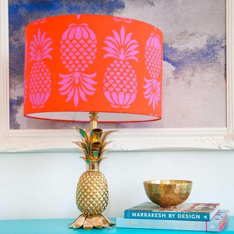 "Large (16"") Pineapple Lampshade in red and pink by Penelope Hope"