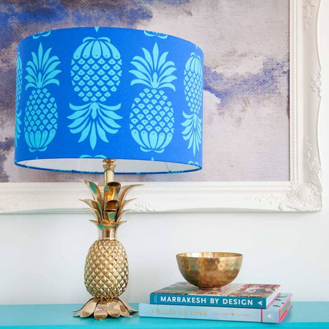 Large Pineapple Lampshade in blue by Penelope Hope