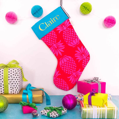 Personalised Pina Colada Red Mix Christmas Stocking