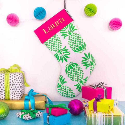 Personalised Pina Colada Green Christmas Stocking