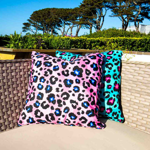 Pink Leopard Print Outdoor Cushion