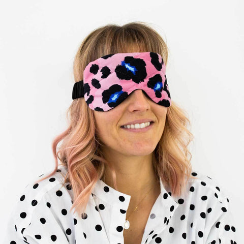Coral Leopard Print Silk Eye Mask