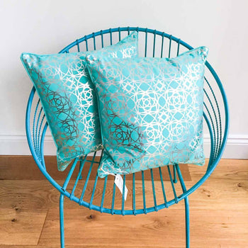 Interlace Teal Cotton Cushion with Silver print by Penelope Hope