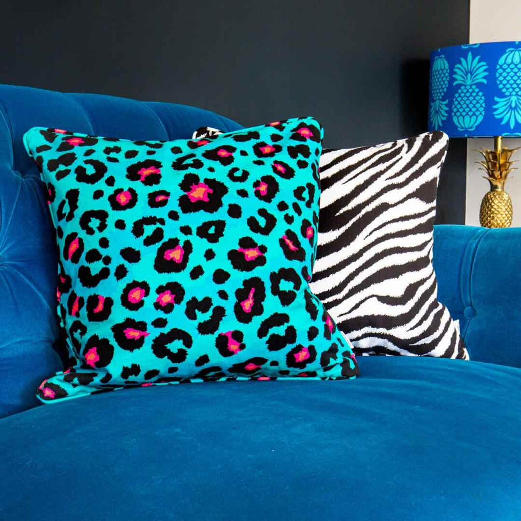 Teal Leopard Print Cushion