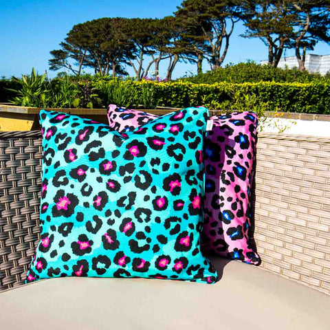 Teal Leopard Print Outdoor Cushion