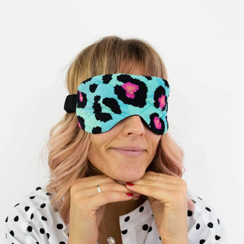 Teal Leopard Print Velvet Eye Mask