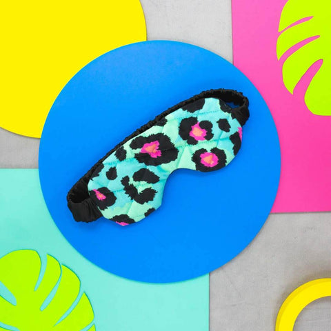 Teal Leopard Print Silk Eye Mask
