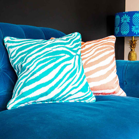 Teal Zebra Print Cushion