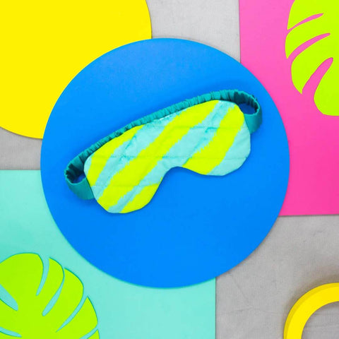 Lime and Blue Zebra Print Eye Mask