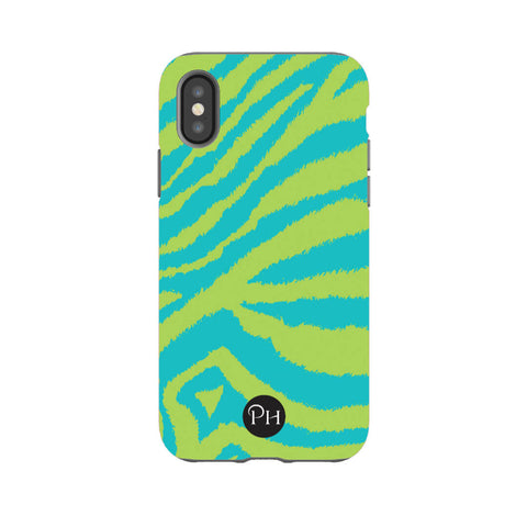 iPhone Case Zebra print Lime & Turquoise | Penelope Hope