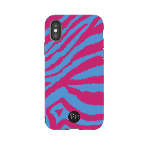 iPhone Cases in Zebra Print Magenta Pink & Blue Stripes | Penelope Hope