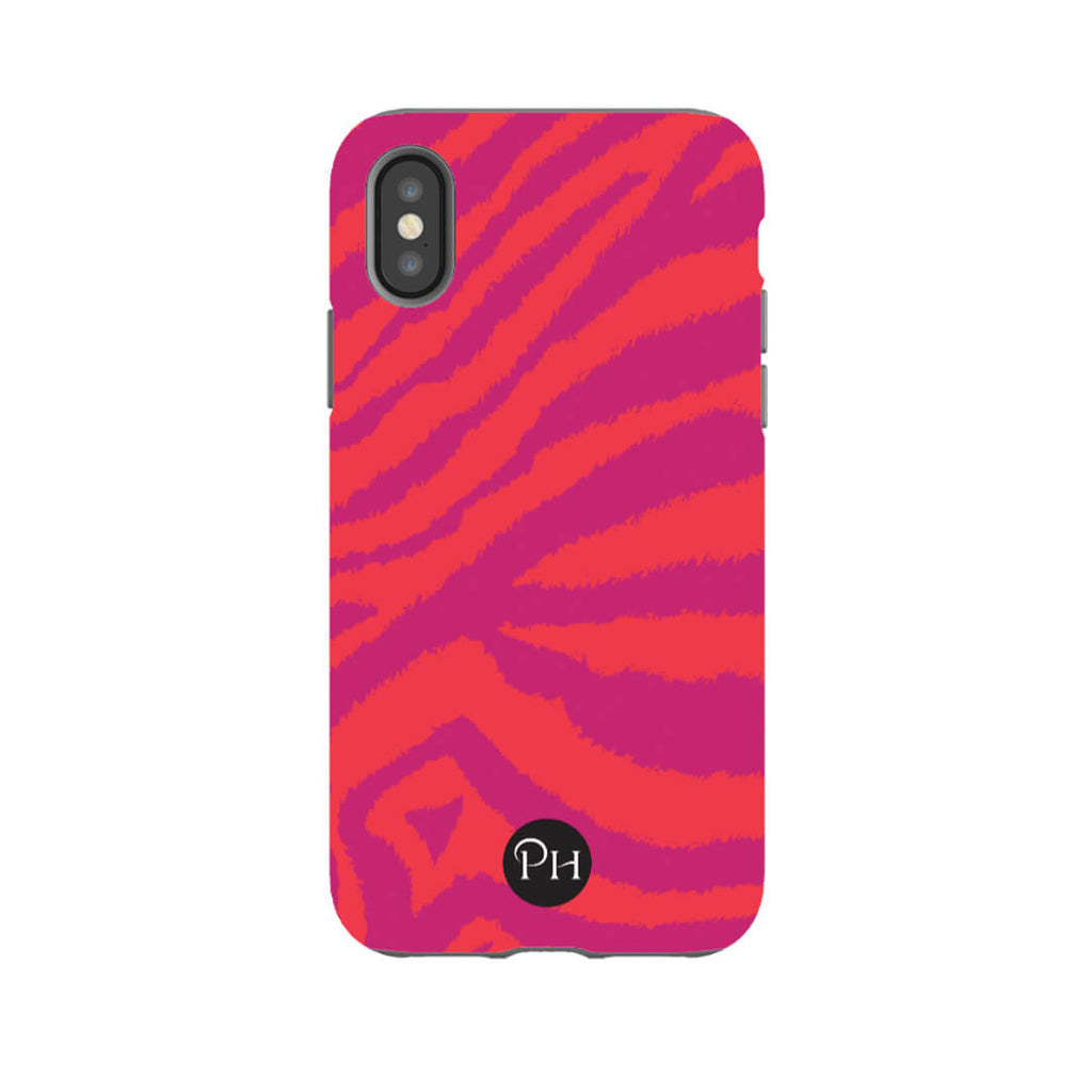 iPhone Cases Zebra Print in Magenta Pink and Orange Stripes | Penelope Hope