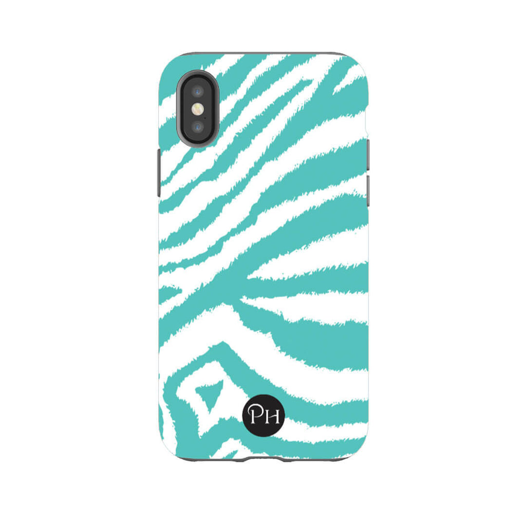 iPhone Cases in Zebra print designs in Teal | Penelope Hope