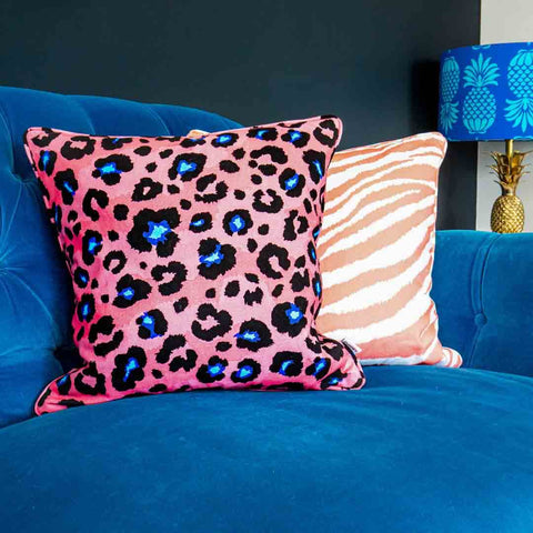 Coral Leopard Print Cushion