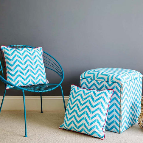 Water reflection aqua cushions by Penelope Hope