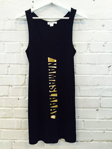 Namaslaay Longline Tank - Black with Gold Foil