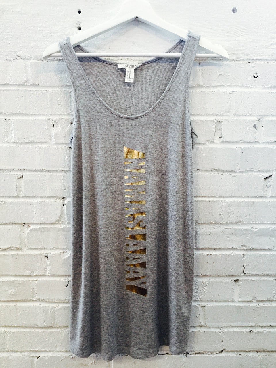 Namaslaay Longline Tank - Gray with Gold Foil
