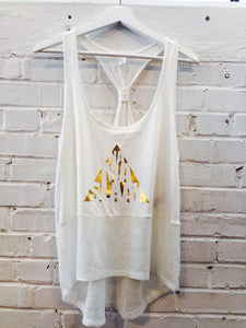 Namaslaay Mesh Yoga Tank - Ivory with Gold Foil