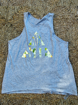 Gold Foil Cut Out Zipper Pocket Yoga Tank - Heather Gray