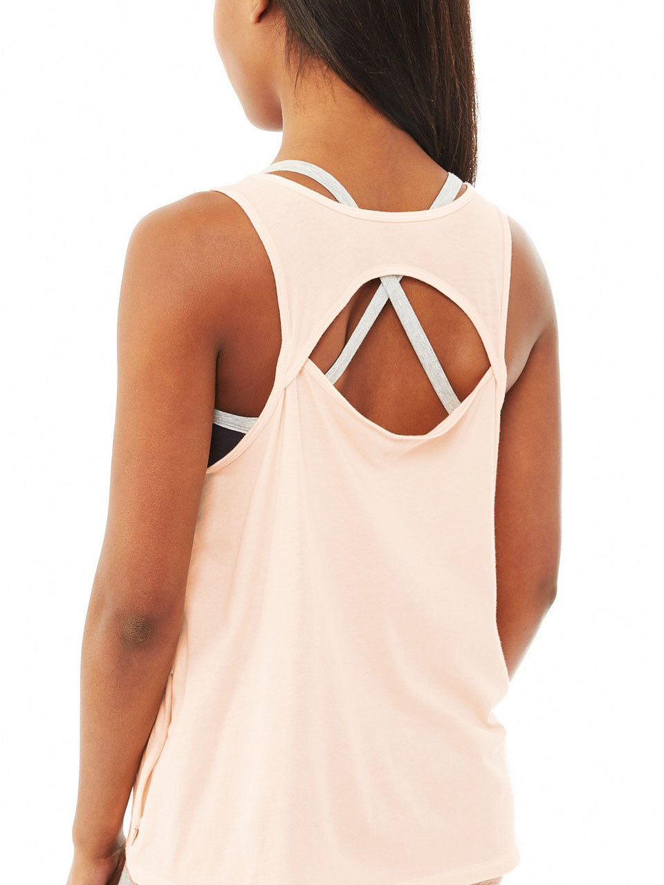 Back View Cut Out Zipper Pocket Yoga Tank - Blush Pink