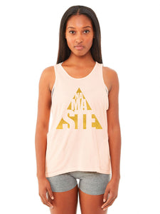 Gold Foil Cut Out Zipper Pocket Yoga Tank - Blush Pink