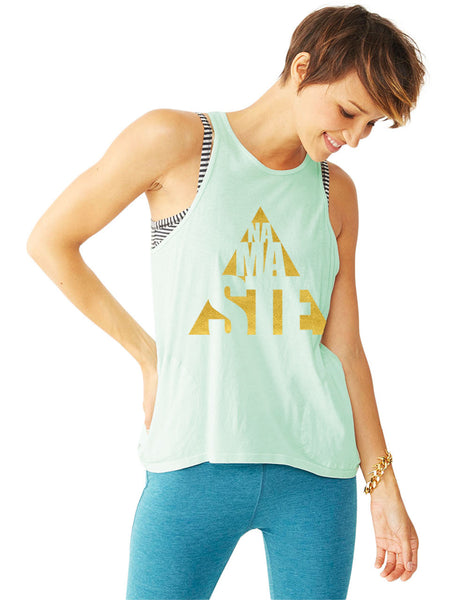 Gold Foil Cut Out Zipper Pocket Yoga Tank - Mint Green