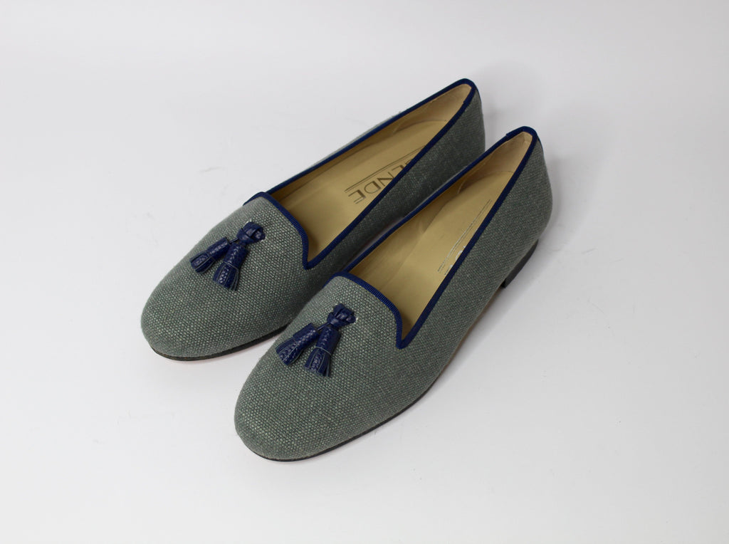 Susan Tassel Loafer in Khaki Green Linen