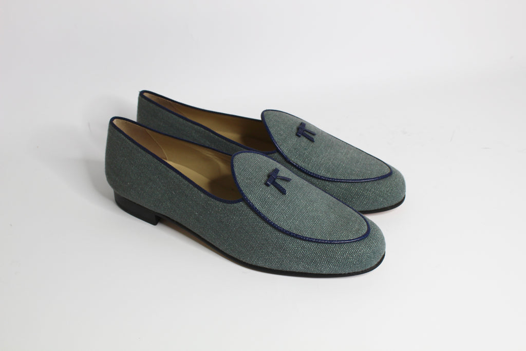 Continental Loafer in Khaki Green Linen