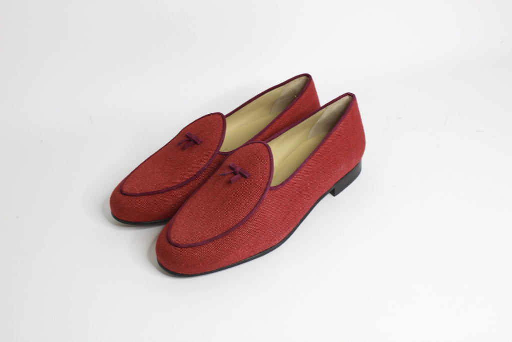Continental Loafer in Red Linen