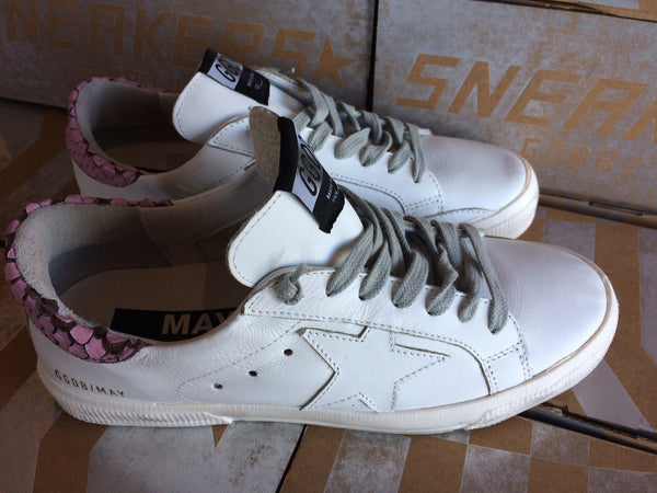 Golden Goose May Sneakers White/ Pink Snake