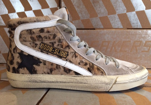 Golden Goose Deluxe Brand Slide Sneakers Snow Leopard/ Black star