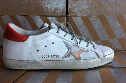Golden Goose Super Star Sneakers White Leather Red