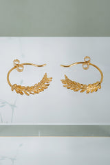 Alex Monroe Honey Fern Loop Earrings