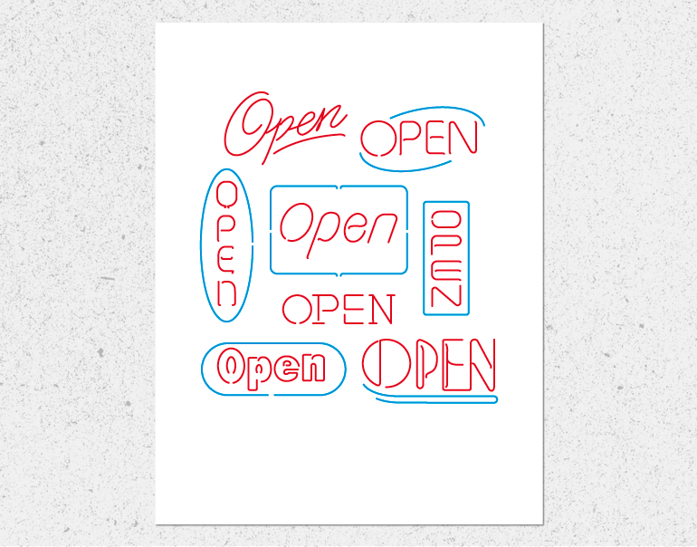 Open Signs White