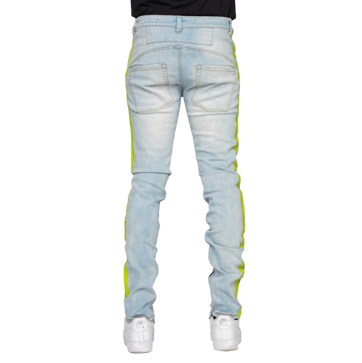 EPTM LT. INDIGO/NEON-PAINTED STRIPE DENIM