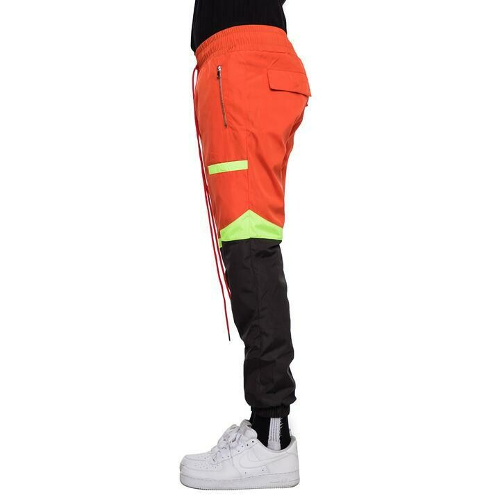 EPTM ORANGE/BLACK-COLOR BLOCK WINDBREAKER PANTS