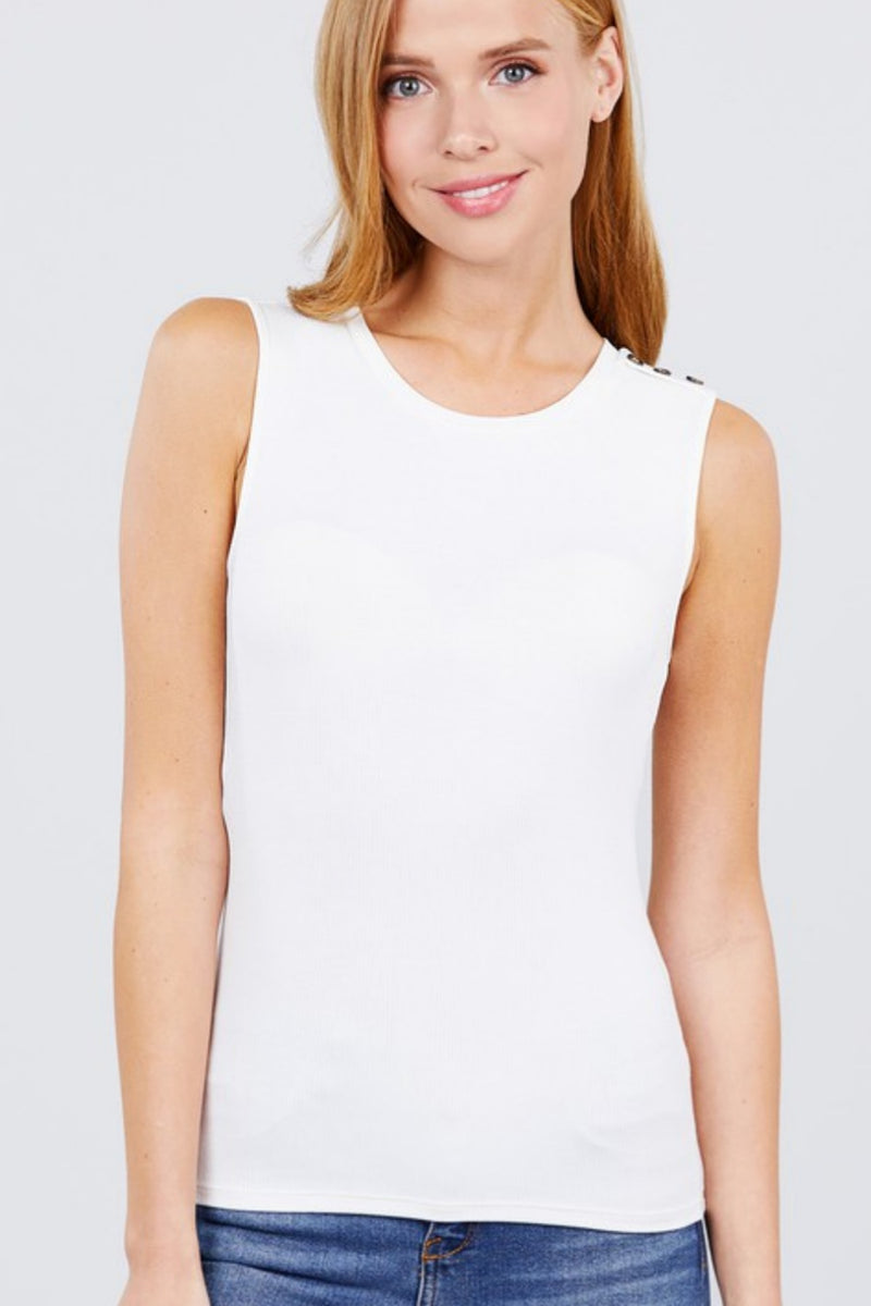 Shoulder Button Ribbed Sleeveless Cami