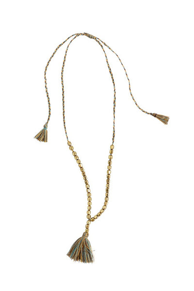 Metal Leon Necklace w/ Brass Colored Beads & Cotton Tassel