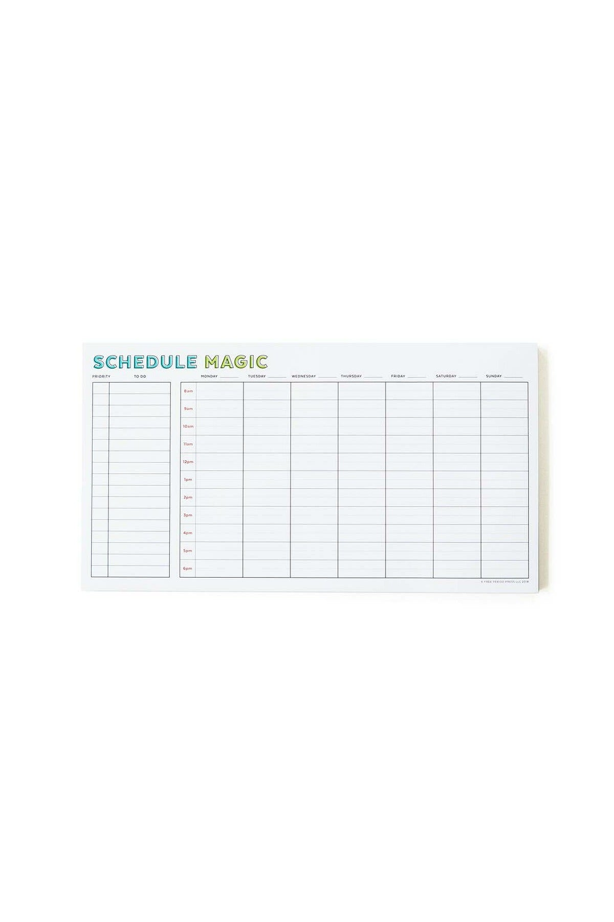 Weekly Schedule magic Notepad