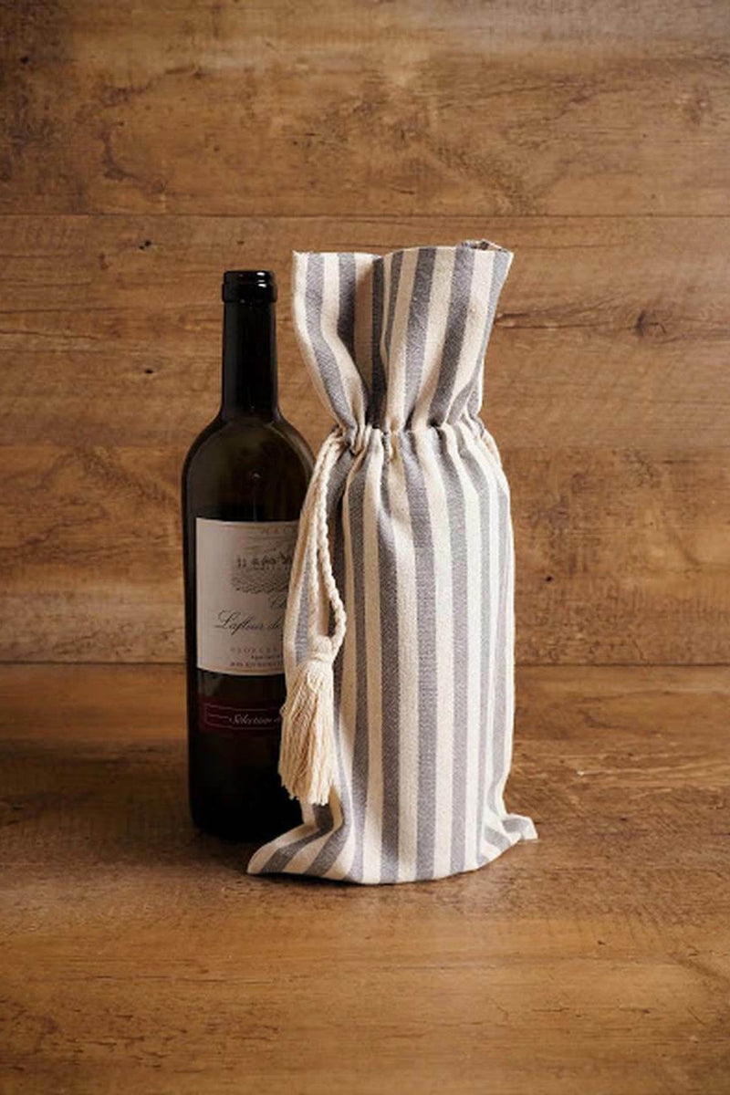 Cotton Striped Wine Bottle Gift Bags