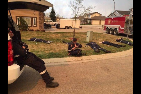 Exhausted Firefighters Fort McMurray