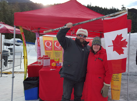 Q Energy booth and fans at IBSF World Cup Whistler