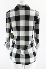 Kara Plaid Flannel in B/W