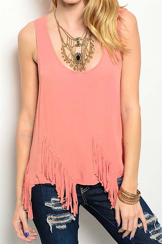Coral Sleeveless Fringe Top