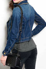 Studded Long Sleeve Denim Jacket