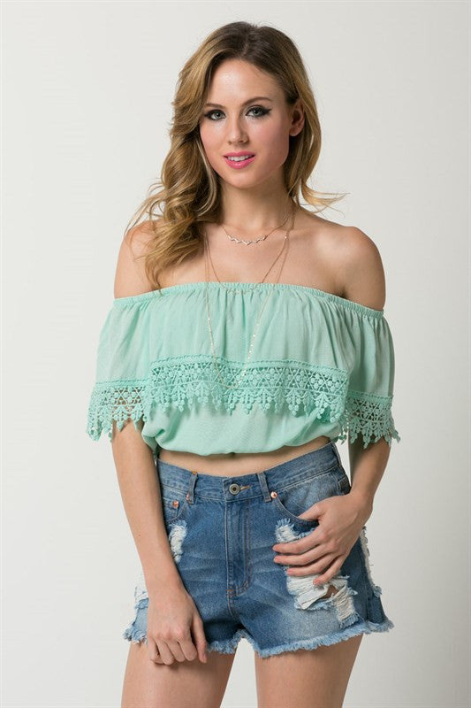 Bay Shoulder Crop Top